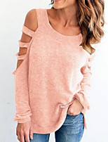 Women's Daily Going out Street chic Summer T-shirt,Solid Round Neck Long Sleeves Cotton Medium