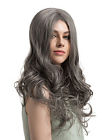 美元素 Mujer Pelucas sintéticas Largo Ondulado Gris Raya en medio Peluca natural Pelucas para Disfraz