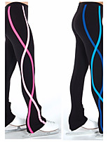 Over The Boot Figure Skating Tights Women's Girls' Ice Skating Dress Red Blue Stretchy Stripe Performance Practise Stretchy Skating Wear