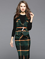 EWUS Women's Running Going out Street chic Fall Blouse Skirt Suits,Color Block Plaid/Check Strap Long Sleeve