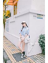 Camicia Da donna Casual Top A strisce Colletto alla coreana Altro Manica corta
