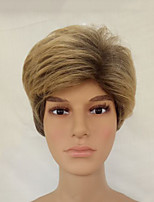 Men Synthetic Wig Capless Short Straight Golden Brown Layered Haircut Natural Wigs Costume Wig