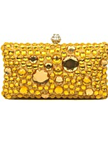 Women Bags All Seasons Silk Evening Bag Beading for Wedding Event/Party Gold Black