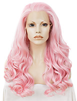 Men Women Synthetic Wig Lace Front Long Wavy Pink Natural Hairline Drag Wig Party Wig Halloween Wig Cosplay Wig Natural Wigs Costume Wig