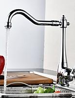 Modern Style Standard Spout Centerset Ceramic Valve Chrome , Kitchen faucet