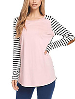 Women's Daily Holiday Casual Street chic Fall T-shirt,Striped Round Neck Long Sleeves Polyester