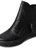 Women's Shoes PU Fall Winter Light Soles Boots Flat Heel Round Toe Lace-up For Casual Black