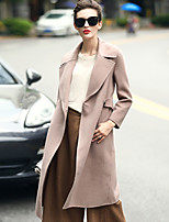Women's Daily Work Simple Casual Winter Fall Coat,Solid Notch Lapel Long Sleeve Regular Wool