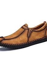 Для мужчин обувь Дерматин Весна Осень Удобная обувь Мокасины и Свитер Комбинация материалов Назначение Повседневные Черный Коричневый Хаки