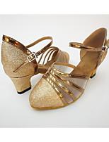 Women's Salsa Net Leatherette Honeycomb Heel Indoor Splicing Chunky Heel Gold Black Silver 1