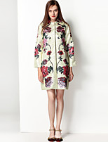 Mary Yan & Yu Women's Going out Casual/Daily Vintage Cute Boho Fall Winter Trench Coat,Floral Print Peter Pan Collar Long Sleeve Regular Polyester