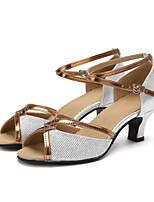 "cheap -Women's Ladies' Latin Sparkling Glitter Other Animal Skin Tulle Sandal Heel Outdoor Paillette Customized Heel Silver 2"" - 2 3/4"""