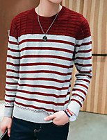Men's Casual/Daily Simple Regular Pullover,Striped Round Neck Long Sleeves Polyester Fall Medium Micro-elastic
