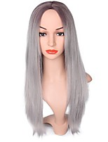 Ombre Light Grey Wigs for Black Women Long Straight Cosplay Hair