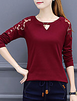 Women's Daily Going out Street chic Winter Fall T-shirt,Solid Round Neck Long Sleeves Polyester Medium