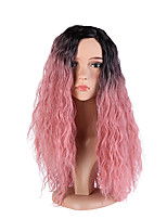 Women Synthetic Wig Capless Long Deep Wave Black/Pink Side Part Ombre Hair Dark Roots Cosplay Wig Costume Wig