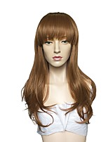 Women Synthetic Wig Capless Long Natural Wave Brown With Bangs Party Wig Celebrity Wig Halloween Wig Cosplay Wig Natural Wigs Costume Wig