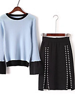 Women's Beach Simple Spring Fall T-shirt Skirt Suits,Solid Color Block Round Neck Long Sleeve