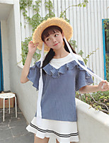 Women's Daily Casual T-shirt,Striped Color Block Round Neck Short Sleeves Cotton