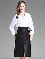 EWUS Women's Work Street chic Fall Shirt Skirt SuitsSolid Shirt Collar Long Sleeve Split Inelastic