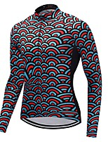 Cycling Jersey Unisex Long Sleeves Bike Jersey Quick Dry Stripe Autumn/Fall Cycling Motorsports Mountain Bike/MTB Road Bike Red+Blue