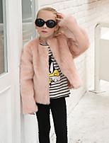Girls' Solid Jacket & Coat,Wool Rabbit Fur Raccoon Fur Fall Winter Long Sleeve