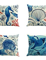 Set Of 4 Novelty Ocean Conch Shell Printing Sofa Cushion Cover Classic 45*45Cm