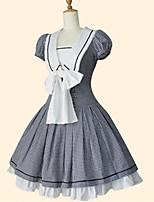 One-Piece/Dress Sweet Lolita Classic/Traditional Lolita Wa Lolita Elegant Princess Cosplay Lolita Dress Black Plaid/Check Short Sleeves