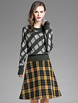EWUS Women's Going out Casual/Daily Street chic Fall Blouse Skirt Suits,Striped Plaid/Check Round Neck Long Sleeve Stretchy