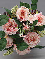 1 Branch Silk Roses Tabletop Flower Decorate Artificial Flowers