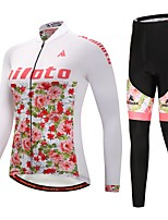 Miloto Cycling Jersey with Tights Women's Long Sleeves Bike Clothing Suits Stretchy Autumn/Fall Winter Cycling/Bike Black/White
