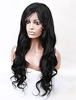 Women Human Hair Lace Wig Brazilian Human Hair 360 Frontal 150% Density With Baby Hair 360 Frontal Natural Wave Loose Wave Wig Black Black