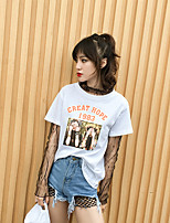 Women's Going out Street chic Summer T-shirt,Print Letter Round Neck Short Sleeves Cotton Thin