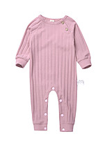 Baby Kids Solid Color One-Pieces,Cotton Cross-Seasons Spring Long Sleeve Blushing Pink Gray