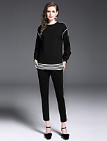 YIYEXINXIANG Women's Going out Casual/Daily Simple Fall T-shirt Pant Suits,Striped Round Neck Long Sleeve