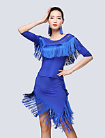 Shall We Latin Dance Outfits Women's Training Milk Fiber Tassel(s) Half Sleeve Natural Skirts Tops
