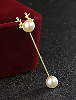 Men's Women's Brooches Imitation Pearl Vintage Personalized Alloy Animal Shape Jewelry For Casual Christmas