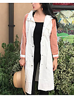 Women's Daily Simple Casual Fall Trench Coat,Color Block Peaked Lapel Long Sleeve Long Cotton Acrylic