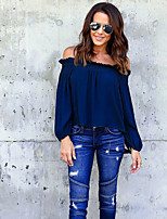 Women's Going out Casual/Daily Sexy Sophisticated Blouse,Solid Boat Neck Long Sleeves Acrylic Polyester Medium