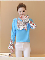 Women's Going out Casual Chinoiserie T-shirt,Solid Print V Neck Long Sleeves Linen
