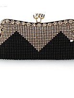 Women Bags All Seasons Polyester Clutch Buttons Crystal Detailing for Casual Gold Black Silver