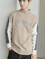 Men's Casual/Daily Regular Pullover,Color Block Round Neck Long Sleeves Polyester Fall Winter Medium Micro-elastic