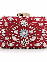 Women Bags All Seasons leatherette Clutch Crystal Detailing for Casual Blue Red Purple