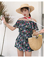 Women's Casual/Daily Simple Summer Blouse Pant Suits,Print Boat Neck Short Sleeve Micro-elastic