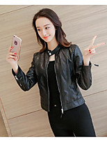Women's Casual/Daily Simple Fall Leather Jacket,Solid Stand Long Sleeve Short PU