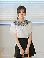 Women's Going out Cute Blouse,Geometric Boat Neck Short Sleeves Cotton