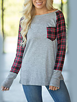 Women's Daily Holiday Street chic Fall T-shirt,Plaid Round Neck Long Sleeves Linen