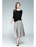 Women's Daily Going out Street chic Fall Blouse Skirt Suits,Solid Round Neck Long Sleeve Wool Polyester Micro-elastic