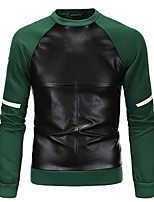 Men's Plus Size Daily Sports Holiday Sweatshirt Color Block Round Neck Micro-elastic Cotton Polyester Long Sleeve Winter Fall
