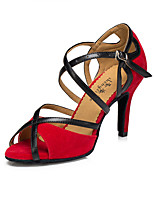 Women's Latin Suede Heel Indoor Buckle High Heel Black Red Customizable